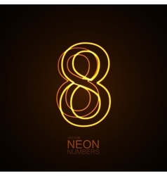 Neon 3D number 8 vector image vector image