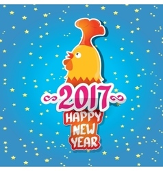 New year 2017 with cartoon funny rooster vector