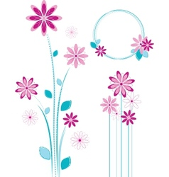 Pink flowers design - floral elements set vector image vector image