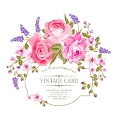 Pink peony vintage label vector image