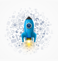 Rocket with icons on the background space rocket vector