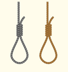 Rope hanging loop noose with hangmans knot vector