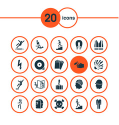 Safety icons set with fall hazard welding mask vector