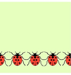 Seamless decorative border from flat ladybugs vector