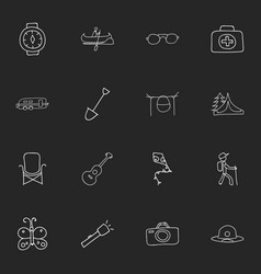 Set of 16 editable trip doodles includes symbols vector