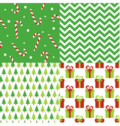 set of christmas and happy new year seamless vector image