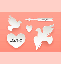 Set of paper objects heart pigeon bird arrow vector