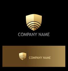 Signal shield technology gold logo vector