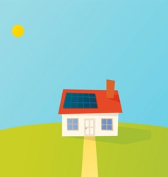 Solar powered cartoon house vector
