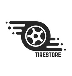 Tire store with abstract tyre vector