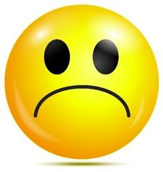 Unhappy glossy smiley icon vector image vector image