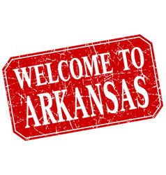 Welcome to arkansas red square grunge stamp vector
