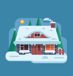 Winter rural house with chimney vector