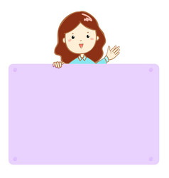 woman hold empty board cartoon vector image vector image