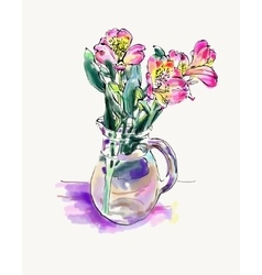 digital watercolor painting of flower isolated on vector image