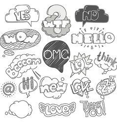 Different sketch style words collection doodles vector image