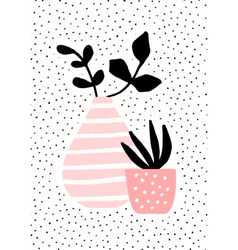 Pink vase and pot with plants vector