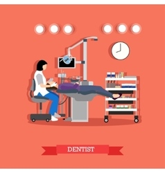 Dentist and patient in vector