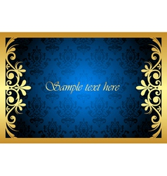gold and blue floral frame vector image