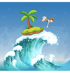 A girl diving on the sea with a small island vector image