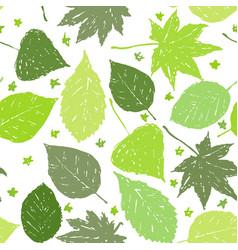 Ink hand drawn seamless pattern with green leaves vector