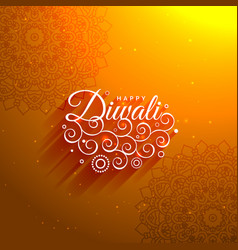 Awesome orange happy diwali artistic background vector