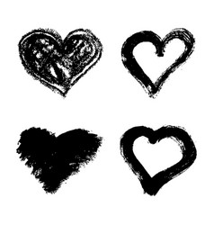 Set of hand drawn grunge hearts isolated on white vector
