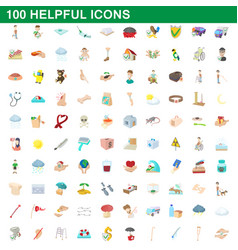 100 helpful icons set cartoon style vector