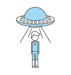Unidentified flying object abducting person vector