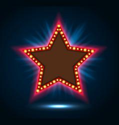Shining blue spotlight on billboard star sign vector