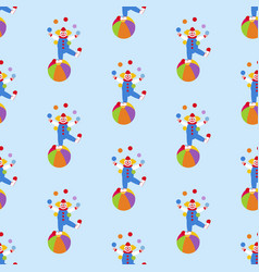 Clown in circus pattern vector
