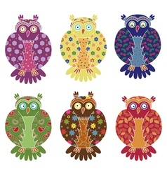 Set of six colourful funny owls over white vector