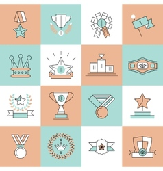 Award icons set flat line vector