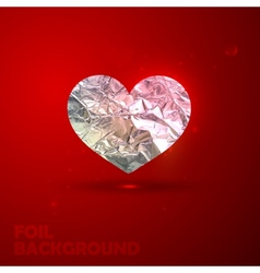 Silver heart with foil texture valentine vector