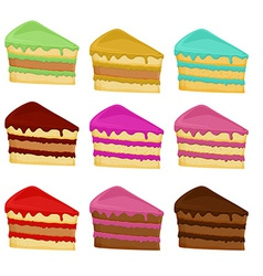 Cartoon set cake slices vector