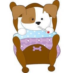 Cute puppy sick thm vector
