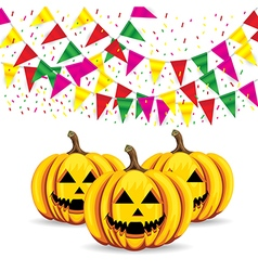 Celebrate banner party flags with pumpkins vector
