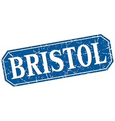 Bristol blue square grunge retro style sign vector