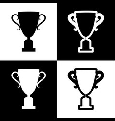Champions cup sign black and white icons vector