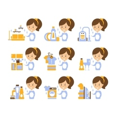 Cleaning service girl and finished tasks set of vector