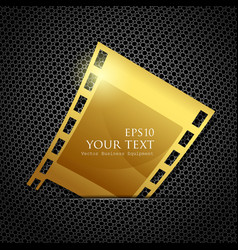 Empty gold camera film roll vector image vector image