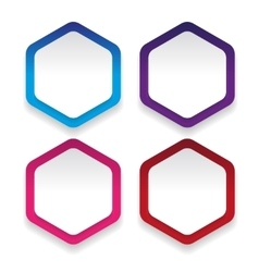 Empty hexagon sticker set vector image