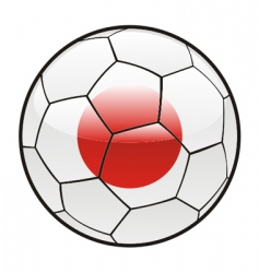 Flag of japan on soccer ball vector