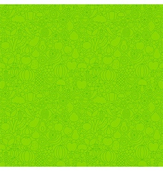 Green Thin Line Fruits Vegetables Seamless Pattern vector image