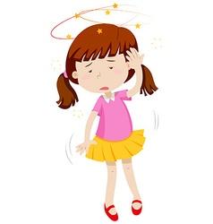 Little girl feeling dizzy vector image