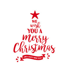 Merry christmas quote tree lettering vector