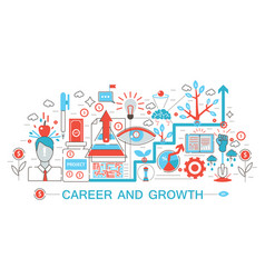 modern flat thin line design career and growing vector image vector image