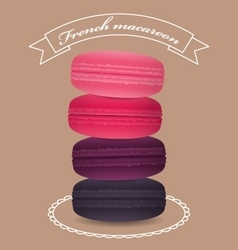 Poster with pyramid color french macaroons vector