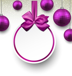 Purple paper round holiday labels vector image