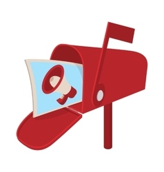 Red mailbox icon with megaphone poster cartoon vector image vector image